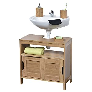 Swell Evideco 9900195 Non Pedestal Bath Under Sink Vanity Cabinet Mahe Bamboo Interior Design Ideas Ghosoteloinfo