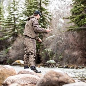 Back of man fishing