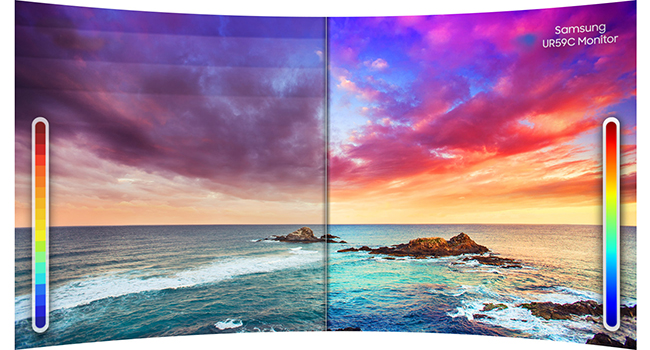 Side-by-side comparison of conventional monitor vs. 2500:1 contrast ratio of Samsung UR59C Monitor