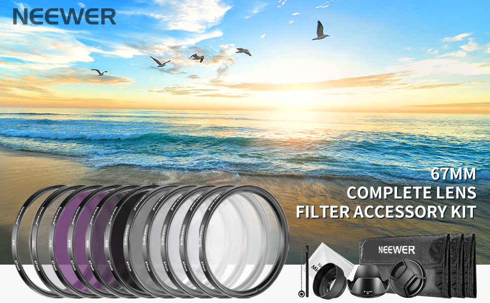 67MM Professional Lens Filter Set UV FLD CPL Filters Accessories Kit