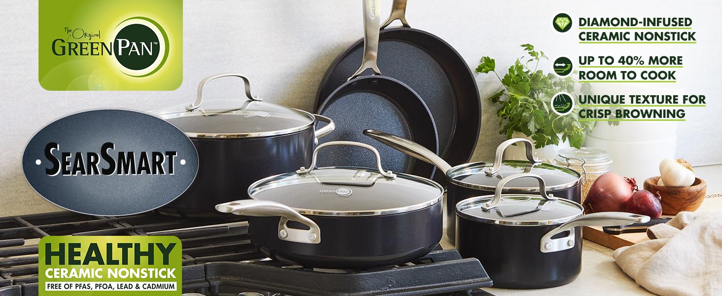 GreenPan, Searsmart, Healthy Ceramic Nonstick, Pots and Pans, Cookware, textured, tough, pfoa, pfas