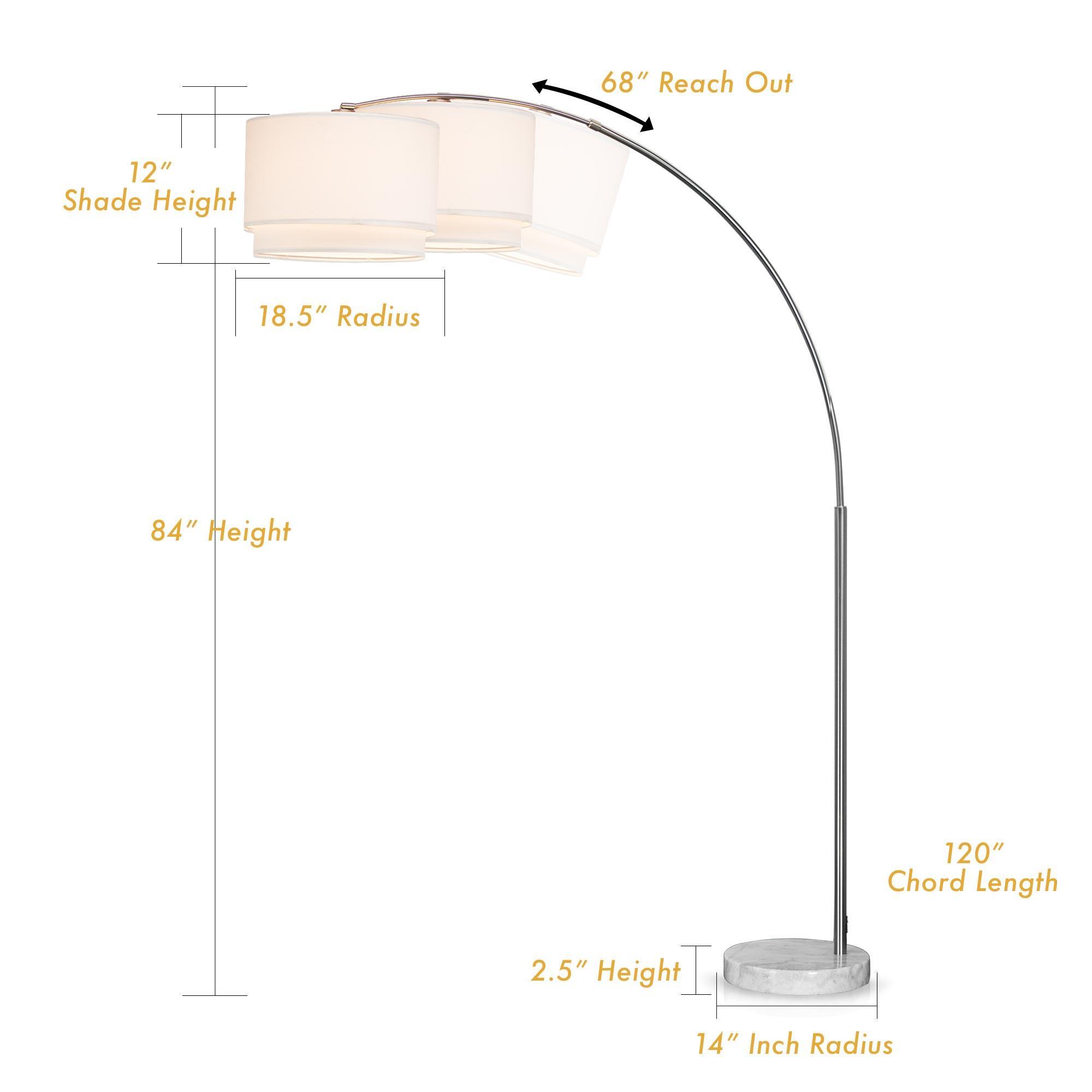Sh Lighting 6938bk Steel Adjustable Arching Floor Lamp