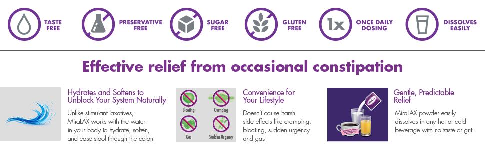 effective relief constipation taste free sugar free gluten free