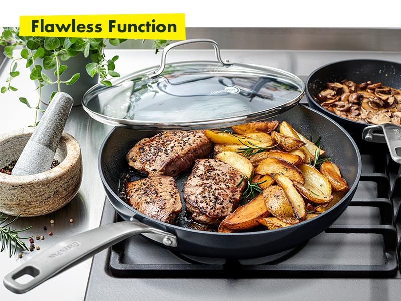 GreenPan, Searsmart, Healthy Ceramic Nonstick, Cookware set, Frying pan, glass lid, pfoa, textured