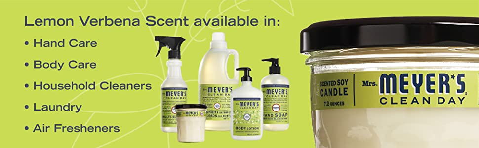 Lemon Verbena scent available in: hand care, body care, household cleaners, laundry, air fresheners
