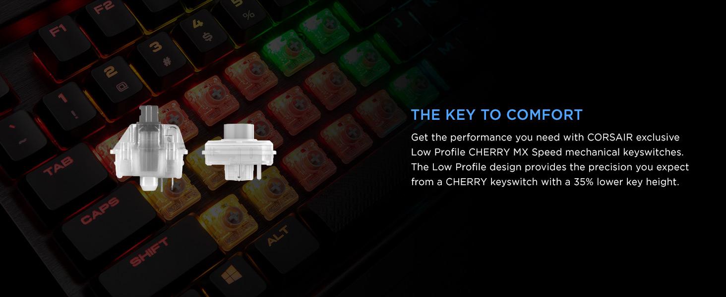 CH-9109018-NA K70 RGB MK.2 Low Profile RAPIDFIRE Gaming Keyboard CHERRY MX Low Profile Speed