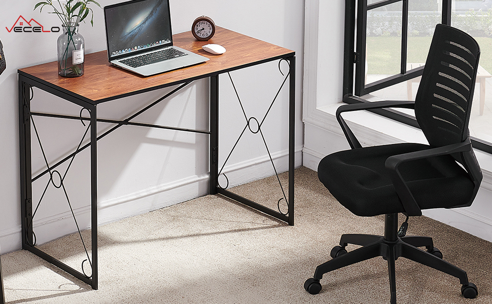 Home office desk with mesh chair