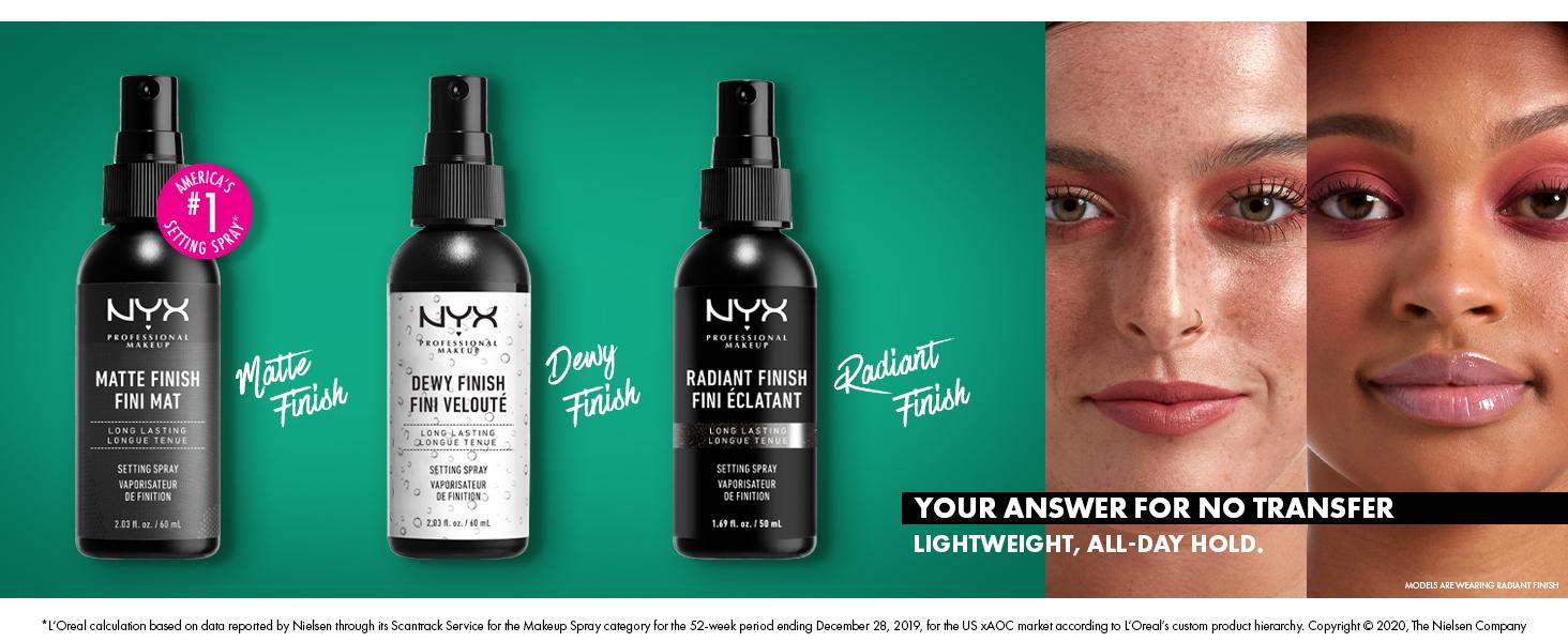 nyx professional makeup setting spray matte dewy radiant finishing spray