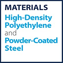 Materials: High density polyethylene and powder coated steel
