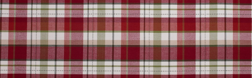 Red, green, and white plaid design table runner that is reversible.