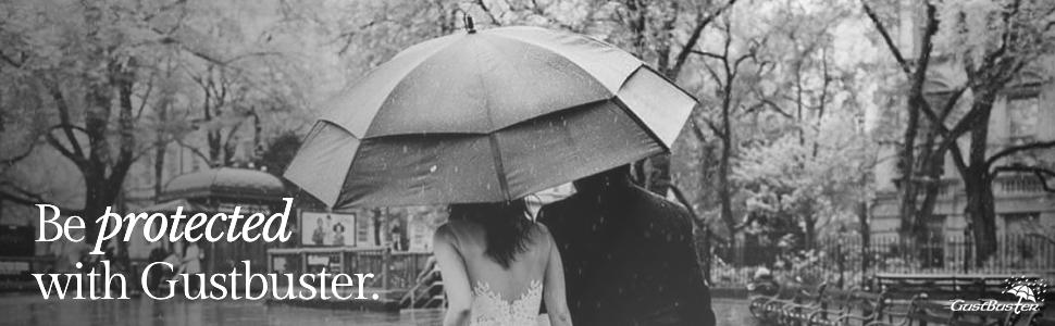 umbrella, GustBuster, black and white