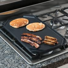 Cooking meal on double burner griddle pan