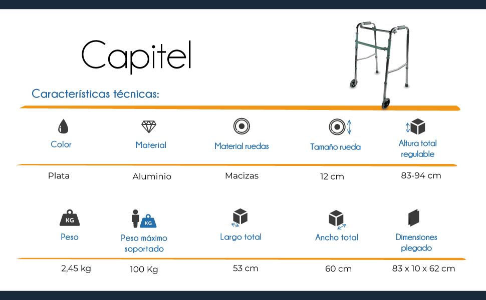 Mobiclinic, Modelo Capitel, Andador para mayores, ancianos, adultos o minusvalidos, de aluminio, ligero, plegable, con asiento y 2 ruedas, Color Gris