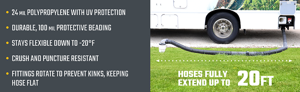 Valterra, hose flat, crush and puncture, resistant, stays flexible.