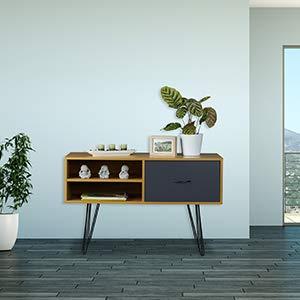 Relaxdays Credenza Design r/étro Multicolore Cassetto 62 x 100 x 38 cm Tavolino d/'Appoggio Mobile Vintage MDF