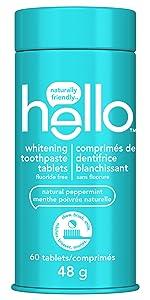 Hello Whitening Toothpaste Tablets, Farm Fresh Peppermint, Fluoride Free, 1 Plastic-Free, Travel