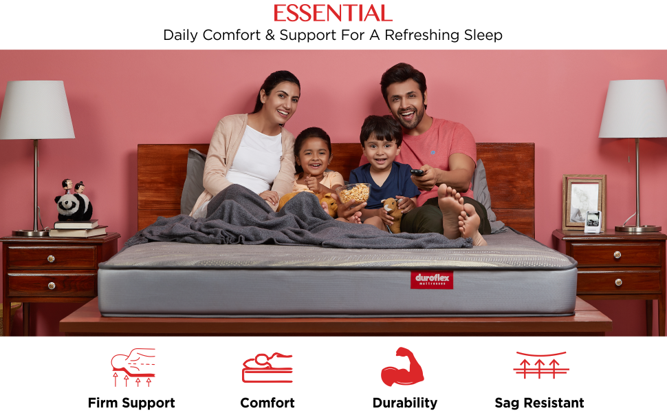 Duroflex Icon Essential - 6 Inch King Size Pocketed Spring Mattress (75 x 72 x 6) Inches SPN-FOR1P