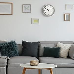 silver, clock, seiko, wall, round, white
