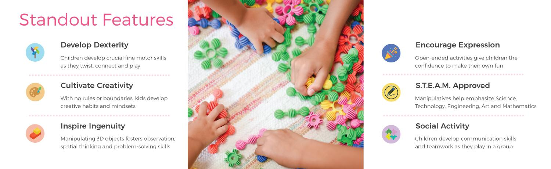 Educational Sensory Learning Toys for Children 160-Piece Set ECR4Kids Gears Galore Math Manipulatives Building Kit