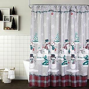 shower curtain, christmas shower curtains, holiday shower curtains, holiday bath decor, christmas