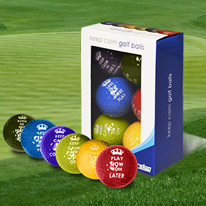 LONGRIDGE, Palline da Golf Keep Calm, 6 pz, Multicolore