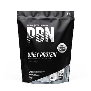 PBN Premium Body Nutrition Proteína de suero de leche en polvo, 1 kg, sabor coco, sabor optimizado