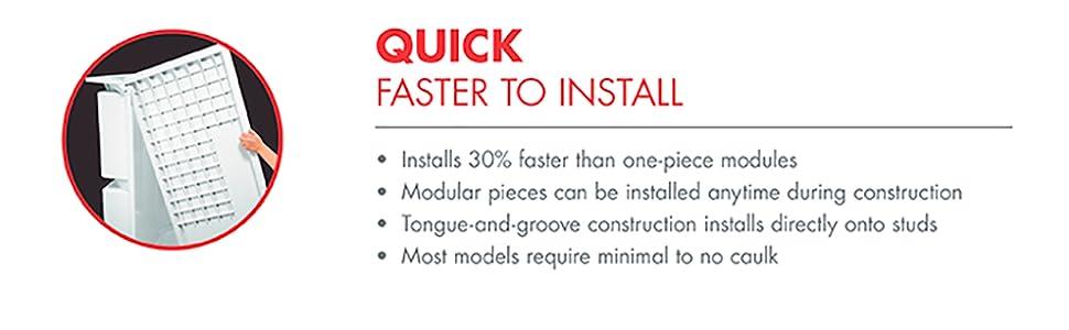 easy install, quick shower, vikrell, sterling, shower surround, vikrell