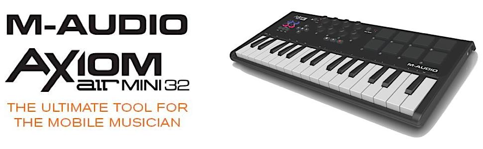 m audio axiom air mini 32 premium 32 key usb midi keyboard drum pad controller. Black Bedroom Furniture Sets. Home Design Ideas
