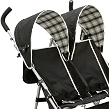 delta children side by side twin two kids stroller toddler baby canopy safety harness