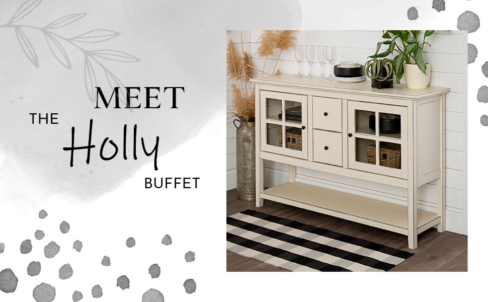 Rustic Farmhouse Wood Buffet Storage Cabinet Living Room, 52 Inch, White