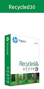 HP Papers Recycled30 ream of 500 sheets of 20lb 30% recycled paper for everyday printing