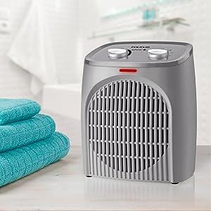 calefactor, calefactor baño, calefactor compacto, termoventilador, aire caliente, aparato baño calor
