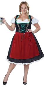 Oktoberfest Costume Women German Beer Girl Fancy Dress Plus Size 8-28 FREE SOCKS