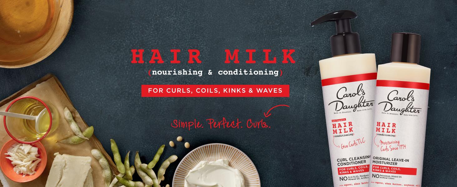 hair milk, curly hair, simple, perfect, curls, nourishing, conditioning, carols daughter, shampoo