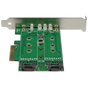 StarTech.com M.2 Adapter - 3 Port - 1 x PCIe (NVMe) M.2 - 2 x SATA III M.2 - SSD PCIE M.2 Adapter - M2 SSD - PCI Express SSD (PEXM2SAT32N1)