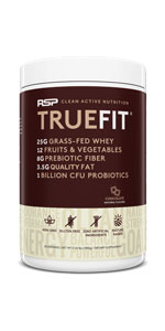 truefit, protein powder meal replacement shake, grass fed whey