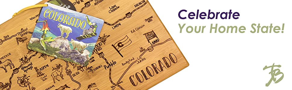 Totally Bamboo Destination Series Colorado State Shaped Serving and Cutting Board, Bamboo, 14.5