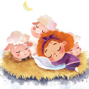 sheep girl sleep good night child kid book