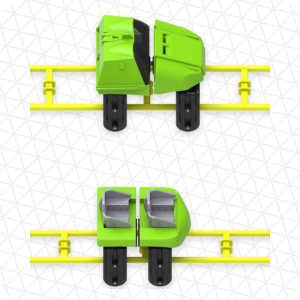 Image of regular scale vs. mini scale car and track