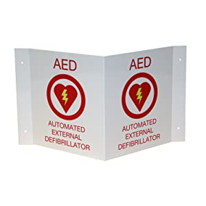 First Voice, AED, sign, red, plastic, 3D, v-shaped, wall sign, projecting