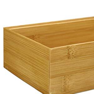 Relaxdays Caja de almacenaje de bambú, Apilable, Diseño natural, 6,5 x 15 x 15 cm, Marrón: Amazon.es: Hogar