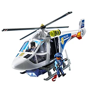 Playmobil 6921 city action police helicopter with led for Helicoptero playmobil