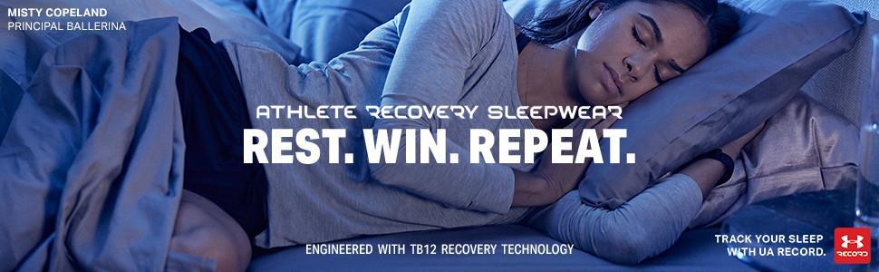 Under Armour Women/'s Athlete Recovery Sleepwear M Long Sleeve Henley Black TB12