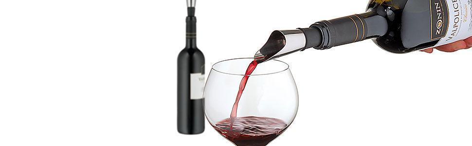 WMF Vino Vaciador Aire Botella con 2 Tapones, Acero Inoxidable Pulido
