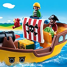 Playmobil, 123, Pirates, Ship, Floating, Boat, Treasure, Figures
