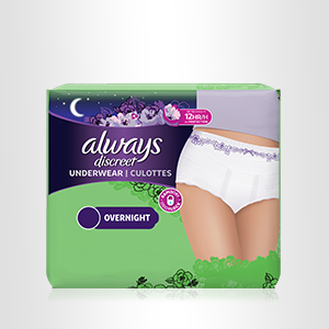 Discover heavy leak overnight underwear for up to 12 hours of protection