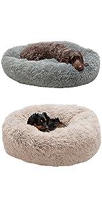 long; faux fur; vegan; donut; bed; dog; cat; pet