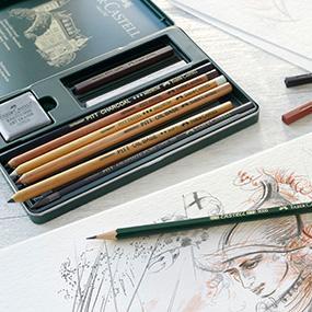 Faber-Castell 112973 - Estuche de metal con 3 ecolápices acuarelables, 6 grafitos 9000, 3 grafito Pitt puro, 2 grafitos y accesorios, multicolor: Amazon.es: Oficina y papelería