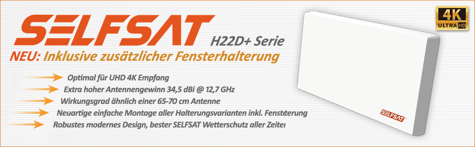 Selfsat h22d2 + UHD 4 K Twin con soporte multifunción