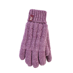 LADIES THERMAL STRIPED GLOVES BY HEAT MACHINE PURPLE PINK BLUE ONE SIZE